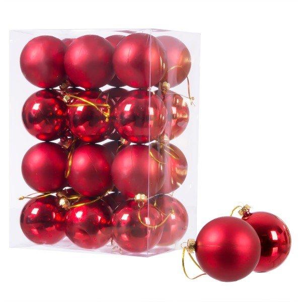 Ø 6 cm Weihnachtskugeln für Weihnachtsbaum ROT - 24er-Pack , B-Ware