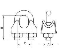 Vorschau: Drahtseilklemme 6mm Seilklemme verzinkt Bügelklemme