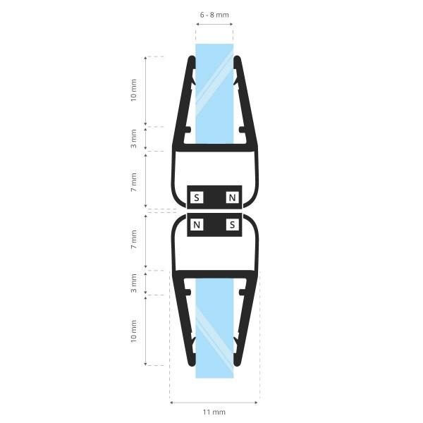 Duschdichtung Magnet Magnetduschdichtung SET 200cm UKM02 180° Grad Dichtprofil Dusche Ersatzdichtung