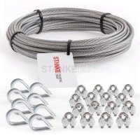 Rankhilfe Seilsystem SET 3: Edelstahlseil + 8x Kausche + 16x Seilklemmen 2mm (7x7) / 5m