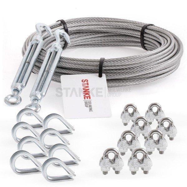 Rankhilfe Seilsystem SET 5: Edelstahlseil + 2x Spannschloss H+Ö + 8x Kausche + 8 Seilklemmen