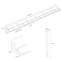 Vorschau: 1m Rasenkante PVC Leiste mit Ankern HRK01B-78
