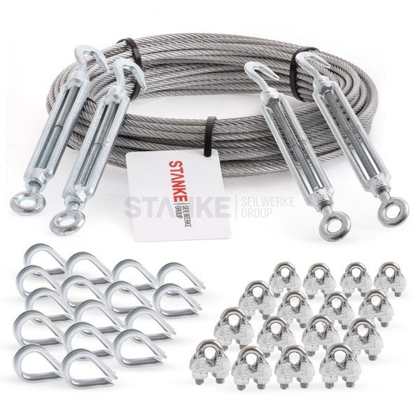 Rankhilfe Seilsystem SET 6: Edelstahlseil + 4x Spannschloss H+Ö + 16x Kausche + 16 Seilklemmen