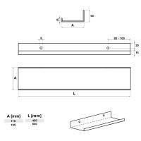 Vorschau: Metall Wandregal Hängeregal U-Form HLMW-01