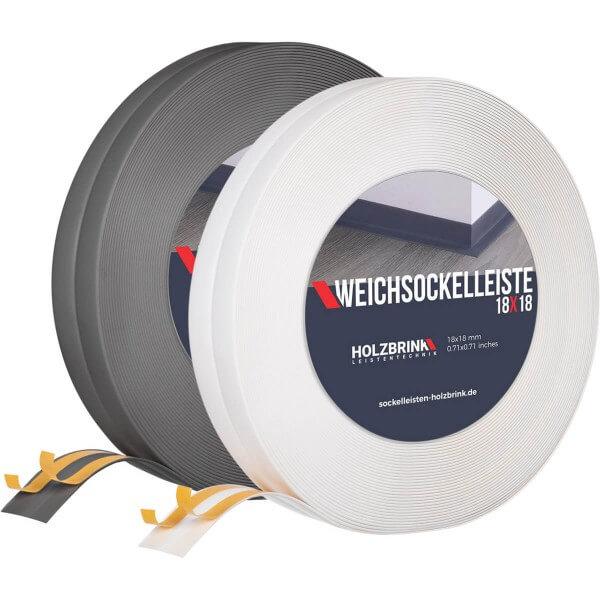 Weichsockelleiste WEISS Knickleiste Profil 18x18mm