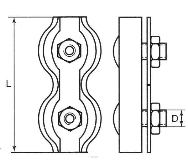 Duplexklemme 2mm Drahtseilklemme verzinkt Seilklemme