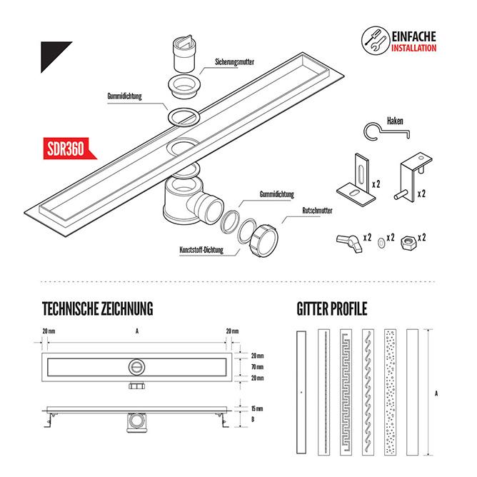 duschrinne sdr360 siphon ablaufrinne jumbo shop. Black Bedroom Furniture Sets. Home Design Ideas